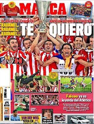 Insólita unanimidad en la prensa española: todos destacan el papel de Falcao y el título rojiblanco