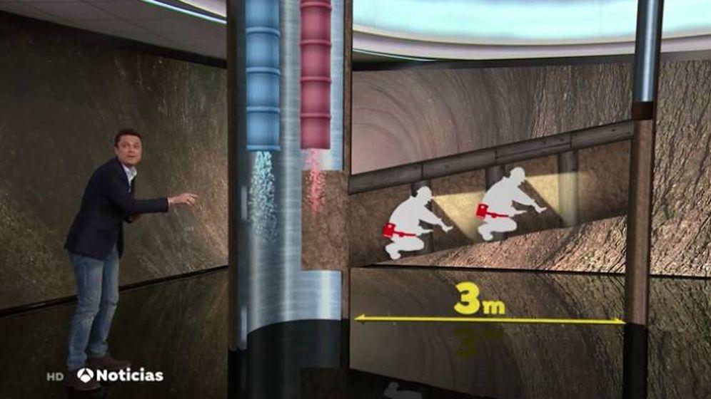 Foto: El rescate de Julen, en realidad aumentada, en 'Antena 3 noticias 1'. (Atresmedia)