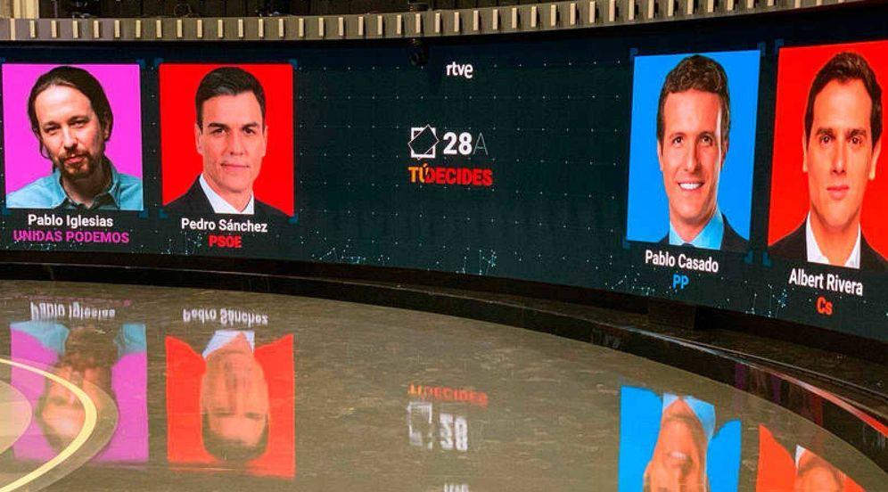 Foto: Todo listo en el Estudio 1 de Prado del Rey de TVE, donde se celebrará este 22 de abril el primer debate a cuatro de la campaña del 28-A. (rtve.es)