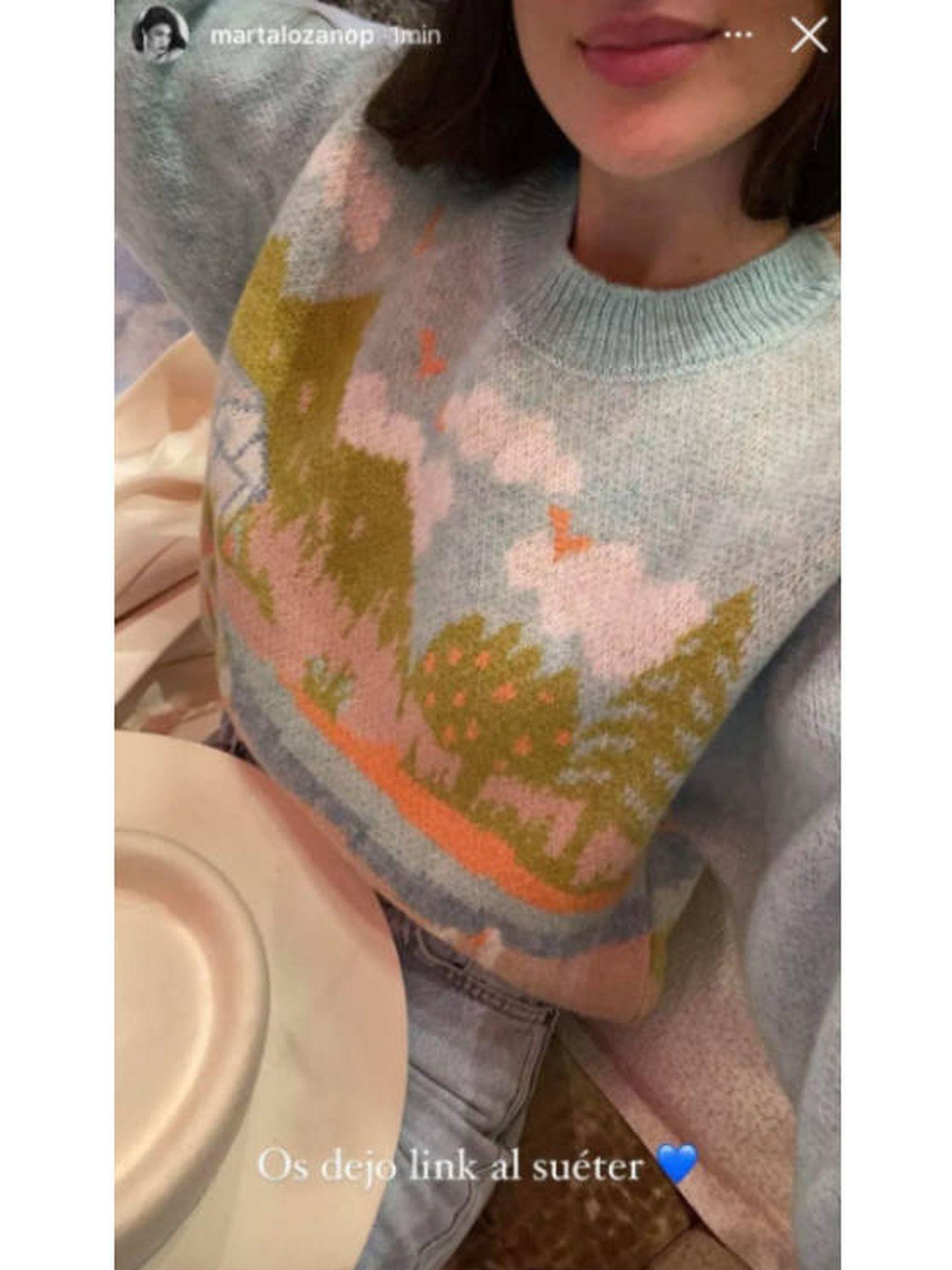 La influencer Marta Lozano, con un jersey de Zara. (Instagram @martalozanop)