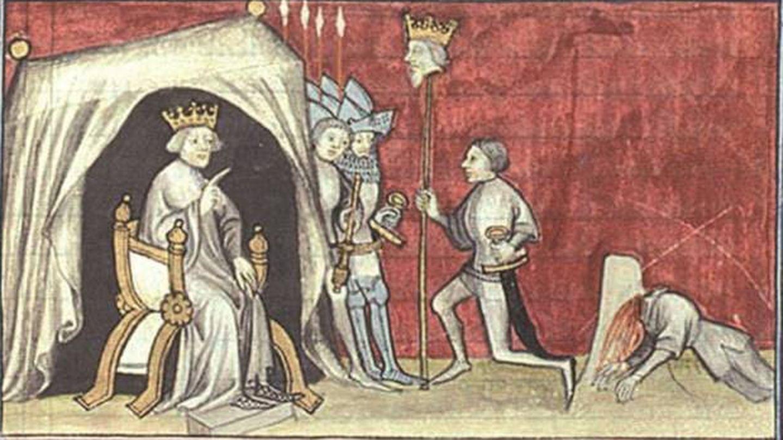 Representación pictórica de la decapitación de Pedro I en Montiel.