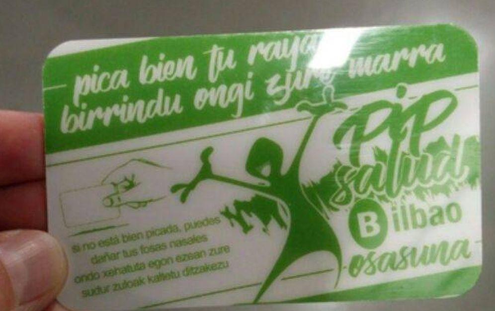 Foto: Tarjeta que ha repartido el Ayuntamiento de Bilbao con el lema 'Pica bien tu raya'. (EC)