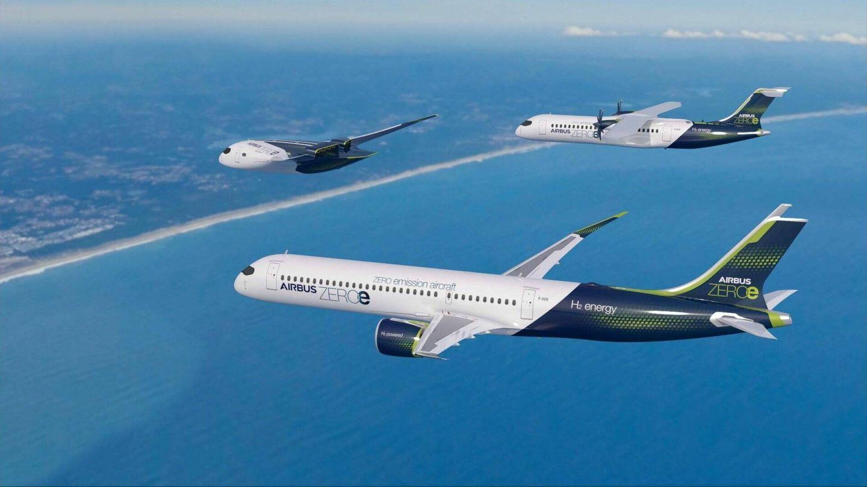 Aviones de Airbus impulsados por hidrógeno.