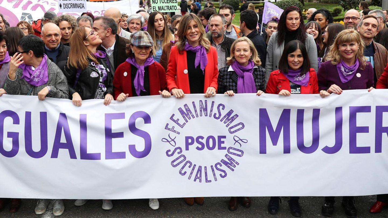 Begoña Gómez, durante la manifestación del 8-M de 2020. (EFE)