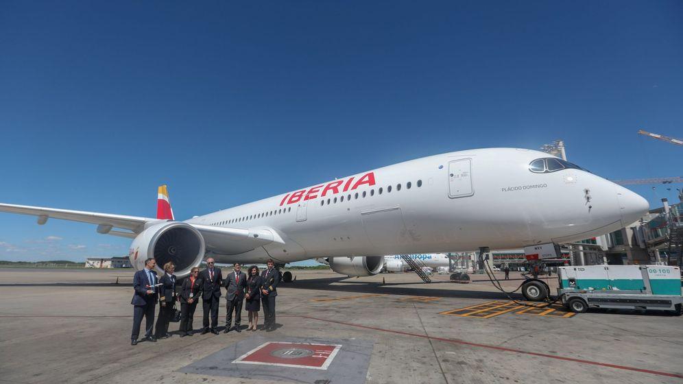 Foto: Airbus A350 de Iberia, en febrero pasado en Buenos Aires. (EFE)