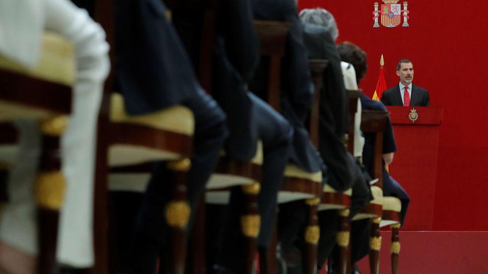 Foto: El rey Felipe, durante el discurso que pronunció en el acto de presentación del diccionario biográfico electrónico. (EFE)