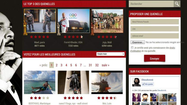 Imagen de la web de Mbala donde recopila fotos de internautas haciendo la 'quenelle'.
