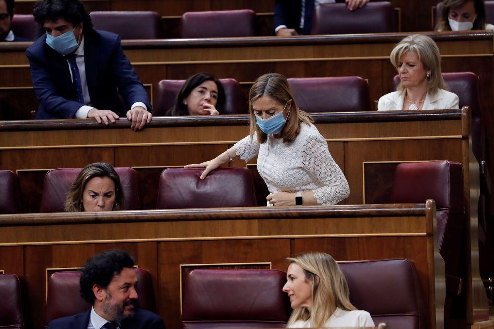 Foto: Los diputados del PP Cuca Gamarra, Ana Pastor, Guillermo Mariscal y Cayetana Álvarez de Toledo, el jueves en el Congreso. (EFE)