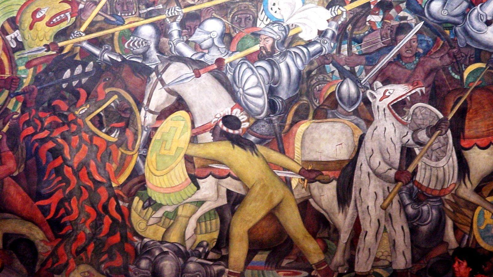 Foto: Mural del Palacio Nacional mexicano pintado por Diego Rivera que representa la conquista de México.
