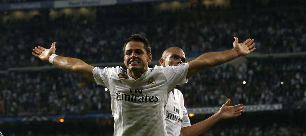 Foto: Chicharito Hernández celebra el gol que derrotó al Atlético de Madrid (EFE)