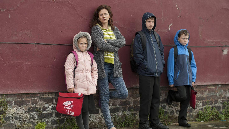 Christina Fitzsimmons con sus tres hijos (Movistar)
