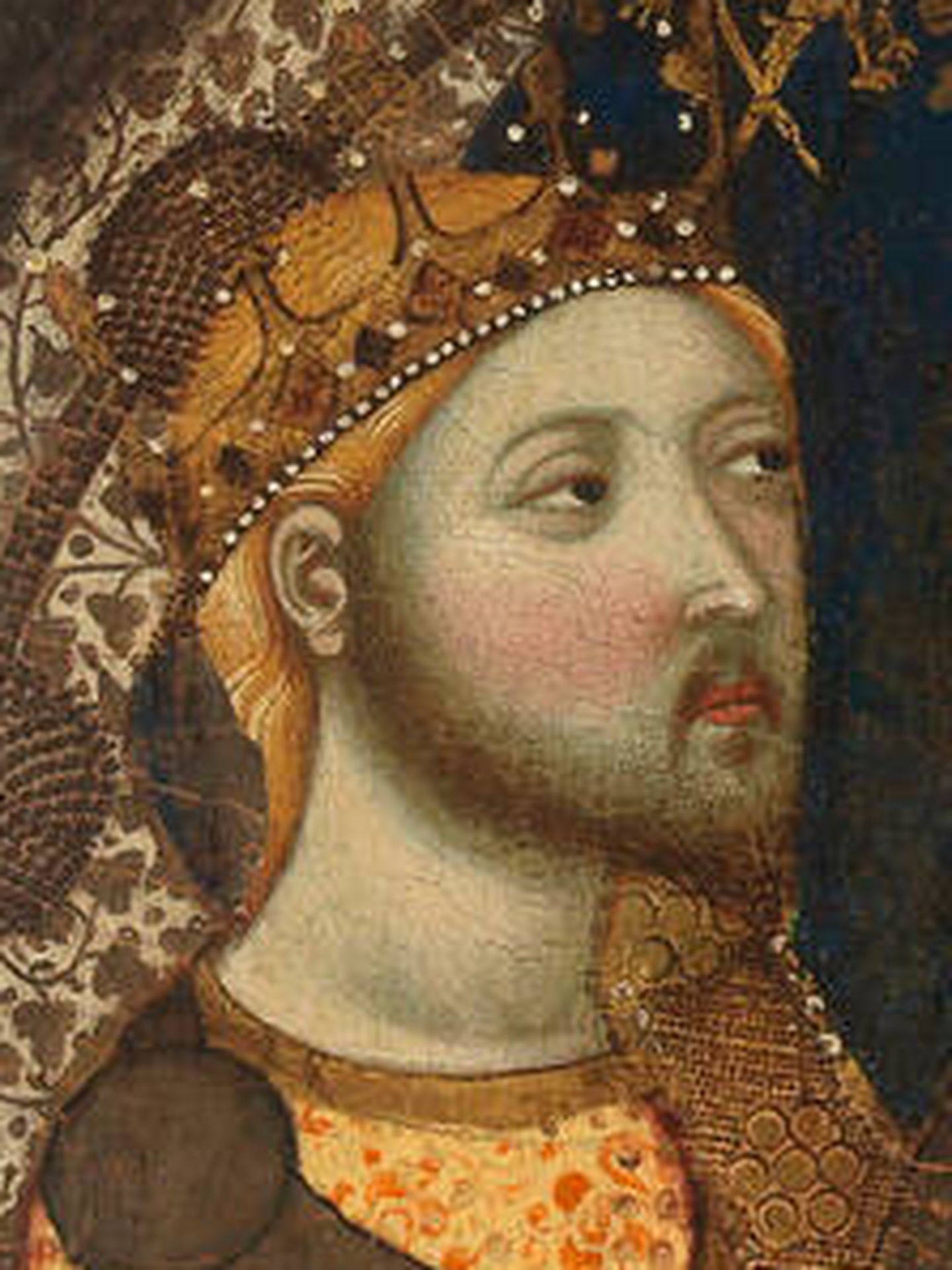 Retrato de Enrique de Trastámara y su ladina mirada en 'La Virgen de Tobed', de Jaume Serra.