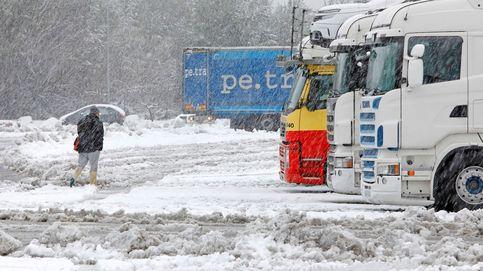 Decenas de personas saquean un camión con comida en plena nevada en la M-30 de Madrid