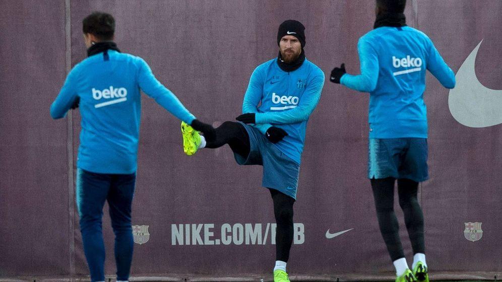 Foto: Messi, en el último entrenamiento antes del Clásico. (Reuters)
