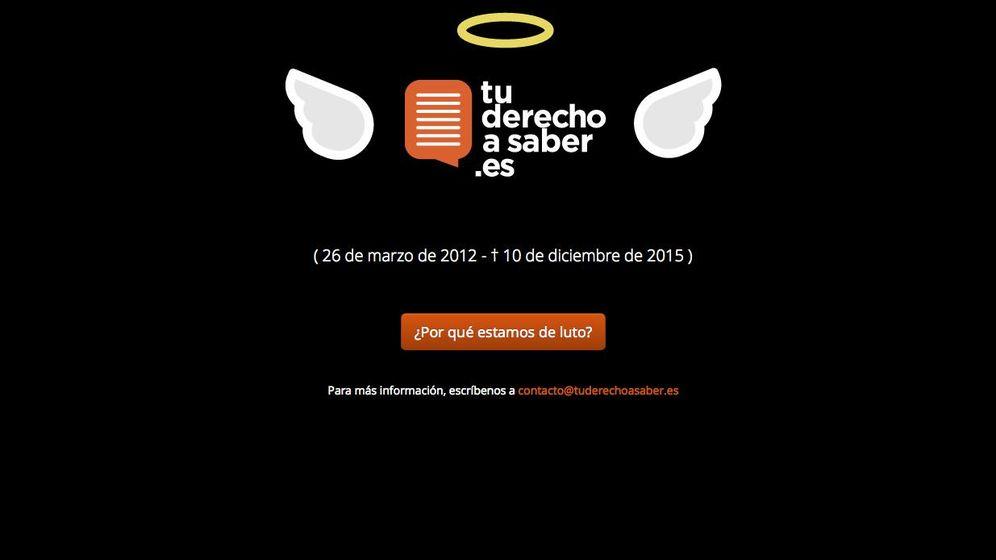 Foto: La web de Tu Derecho A Saber, de luto
