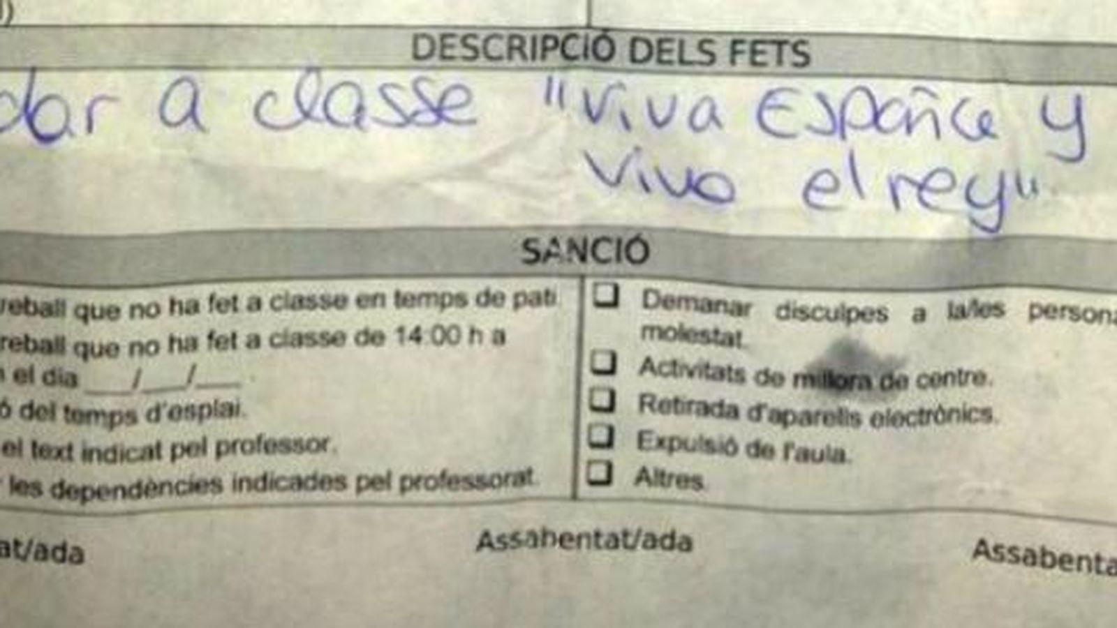 Foto: Fotografía de la nota enviada por la profesora al alumno. (Crónica Balear)