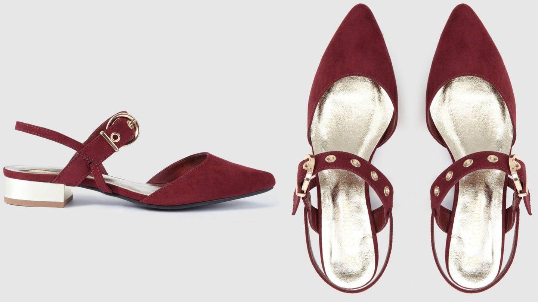 Zapatos de punta con tacón bajo. (Cortesía)
