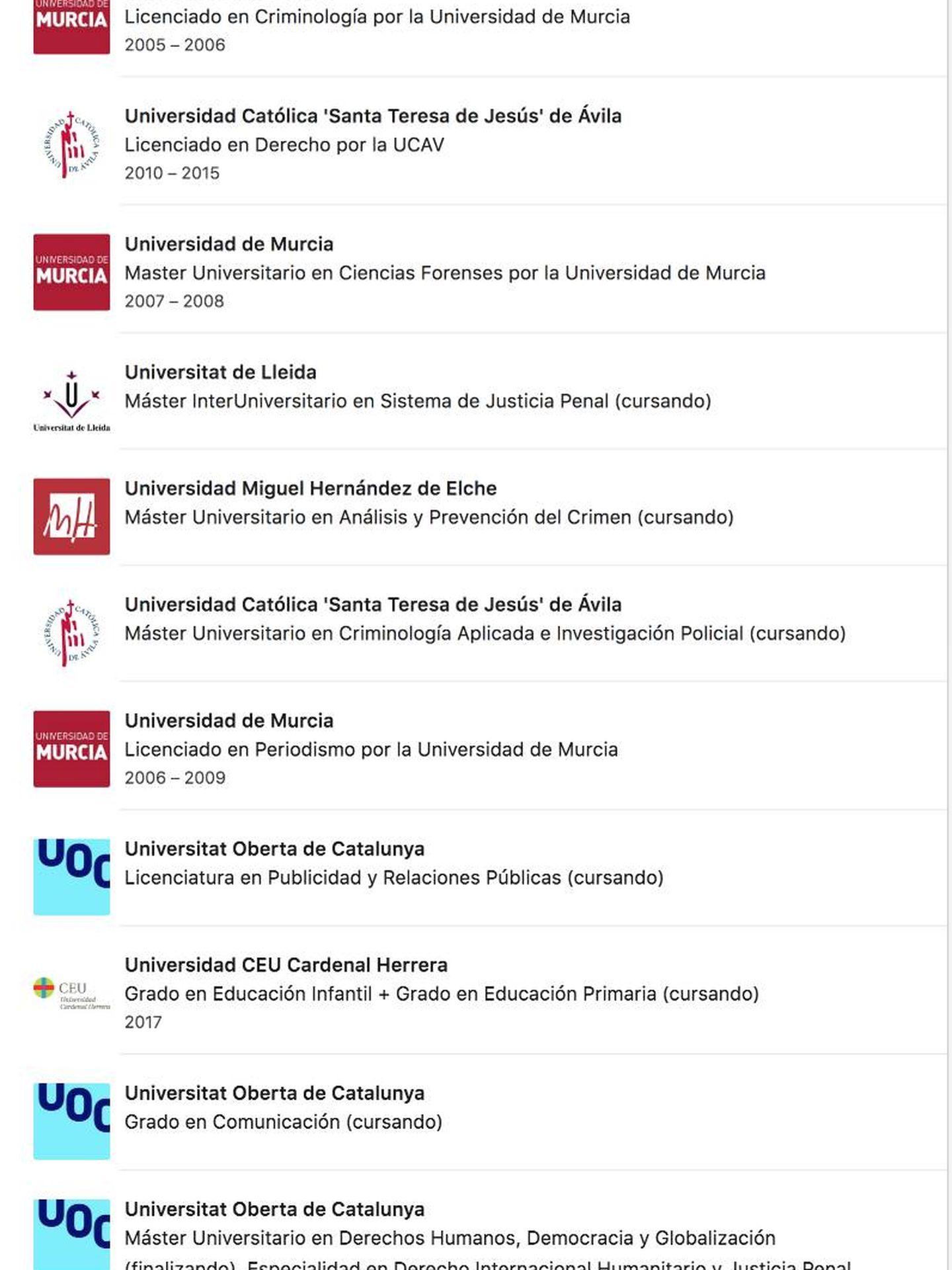 El listado de grados y másteres cursados o 'en proceso' de Emilio Argüeso en su perfil de LinkedIn.