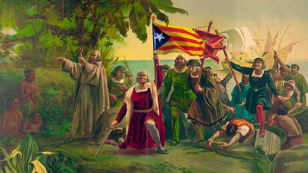 Foto: Fotomontaje de la llegada de Colón a América.