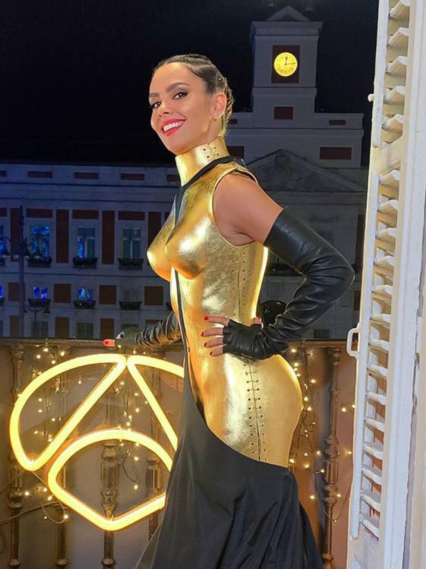 Cristina Pedroche, en el balcón de la Puerta del Sol. (Instagram Pedroche)