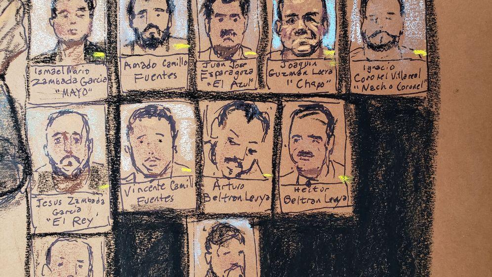 Foto: Viñeta con imágenes de los miembros del cártel dirigido por el Chapo Guzmán (Reuters)