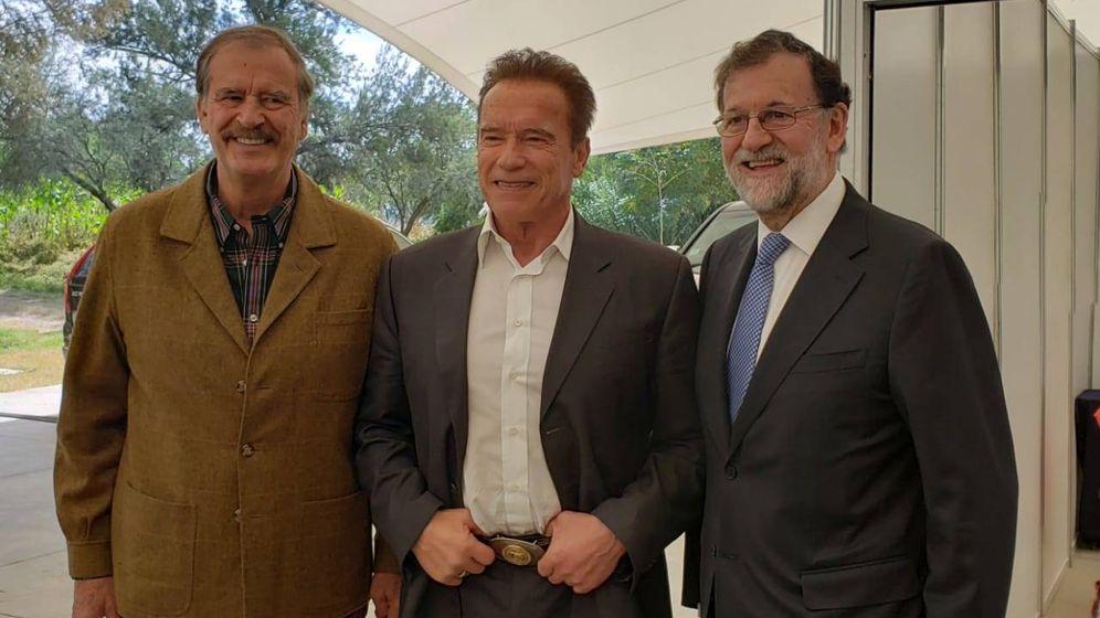Foto: Vicente Fox, Arnold Schwarzenegger y Mariano Rajoy.