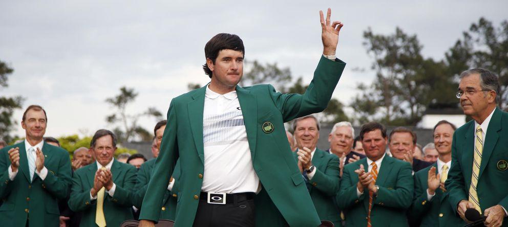 Foto: 'Bubba' Watson señala con los dedos sus dos Masters de Augusta (AP).