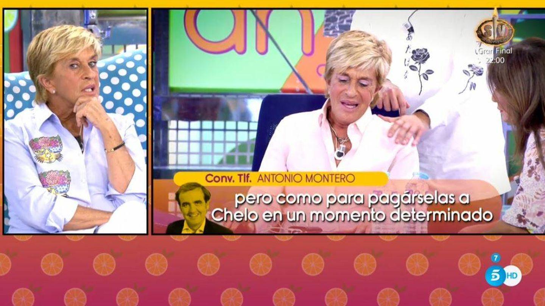 Chelo escucha a Antonio Montero en 'Sálvame'. (Mediaset España)