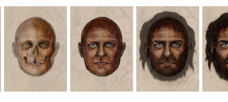 Foto: Fases de la reconstrucción del cazador-recolector de hace 7.000 años. (CSIC)
