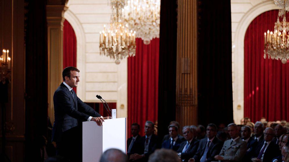 Foto: El presidente Emmanuel Macron durante la reunión anual de embajadores franceses, en París. (Reuters)