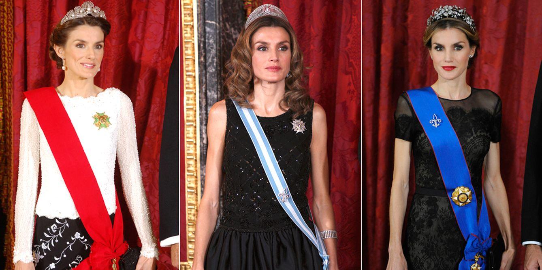 Doña Letizia con la tiara Melleiro, la prusiana y la floral (Gtres)