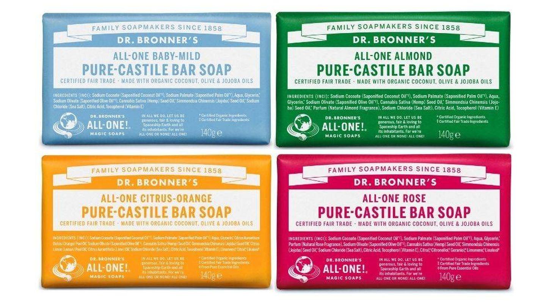Pastillas de jabón Pure-Castile Bar Soap, de Dr. Bronner's (5,99 € /u.). Con diferentes fragancias.