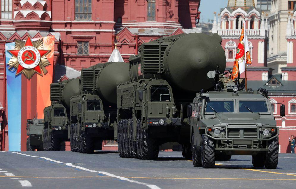 Foto: Misiles balísticos intercontinentales Yars RS-24 durante un desfile en la Plaza Roja de Moscú. (Reuters)