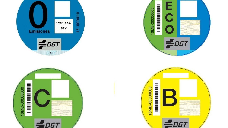 Etiquetas ambientales de la DGT.