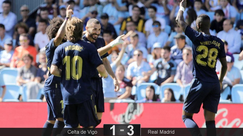 Foto: Los jugadores del Real Madrid celebran el primer gol, obra de Benzema. (Reuters)