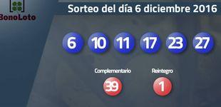 Post de Resultados del sorteo de la Bonoloto del 6 de diciembre 2016: números 6, 10, 11, 17, 23, 27
