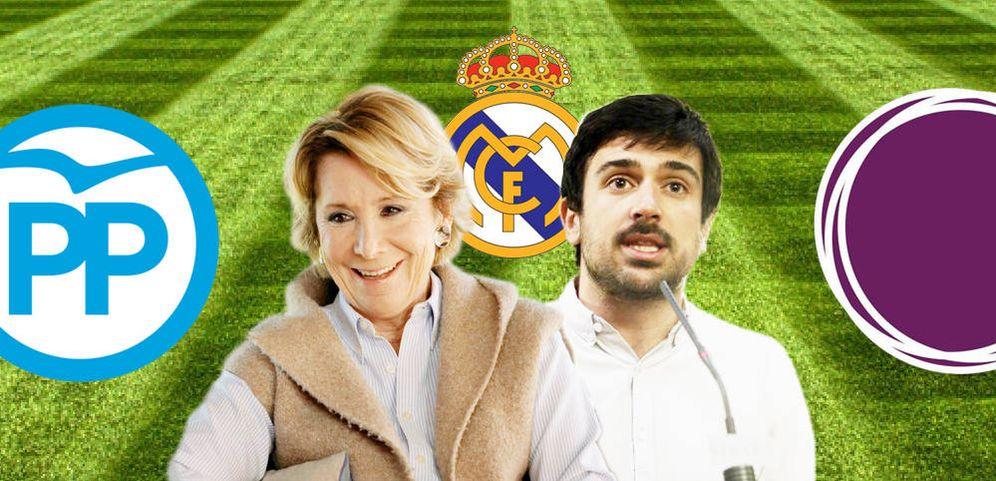 Foto: El Real Madrid une lo que la política separa. Aguirre y Espinar comparten corazón blanco. (EC)