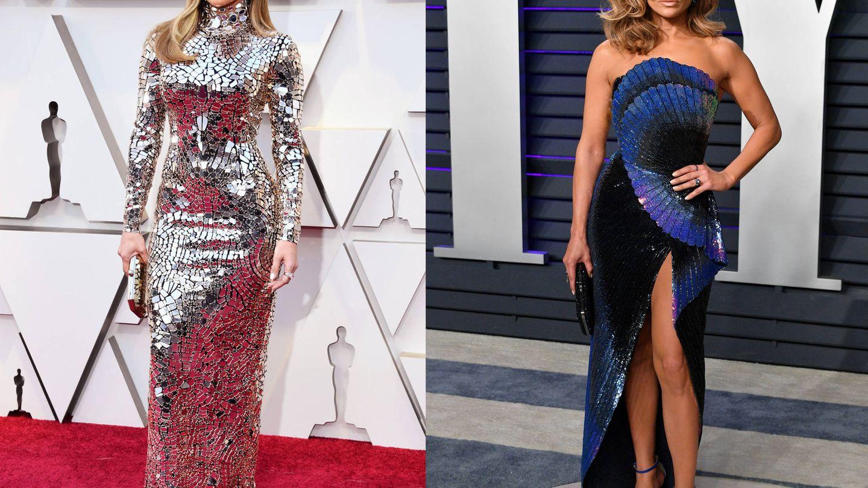 Jennifer Lopez en los Oscar y en la fiesta de 'Vanity Fair'. (Getty)