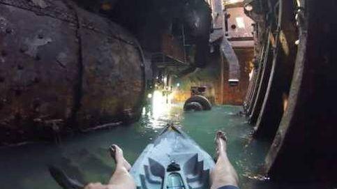 Increíble ruta en kayak en un barco abandonado