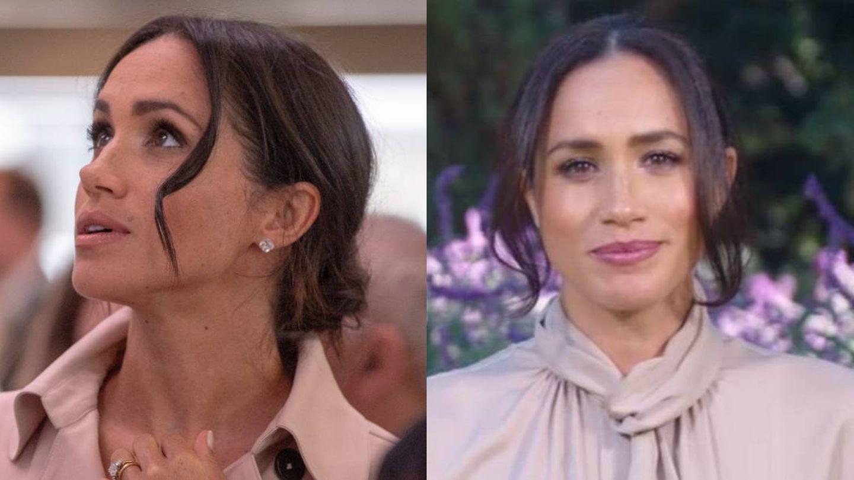 El flequillo de Meghan Markle, antes y ahora. (Getty/CNN)