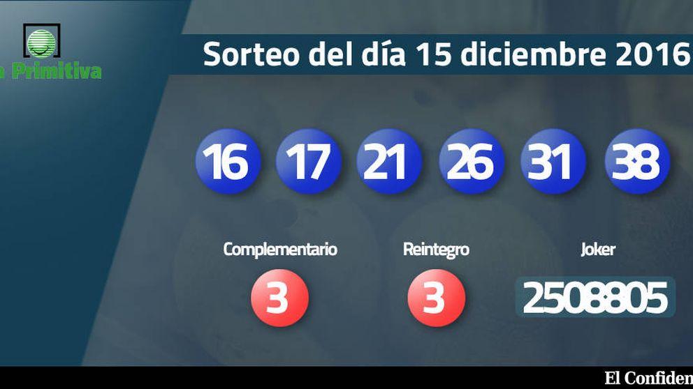 Resultados del sorteo de la Primitiva del 15 diciembre 2016: números 16, 17, 21, 26, 31, 38
