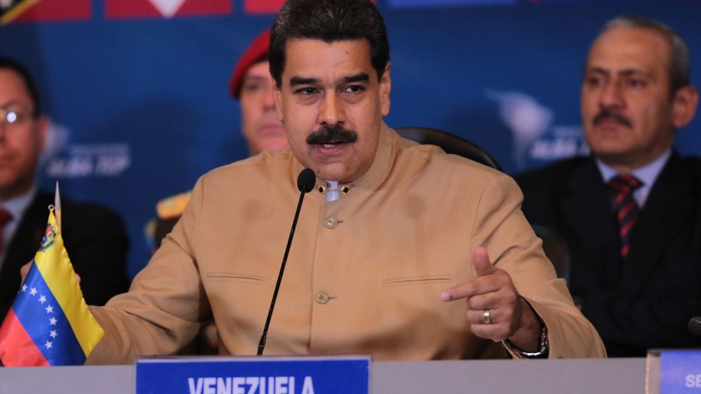 Foto: El presidente de Venezuela, Nicolás Maduro, mientras habla en una reunión de cancilleres del ALBA, en Caracas (Venezuela). (EFE)