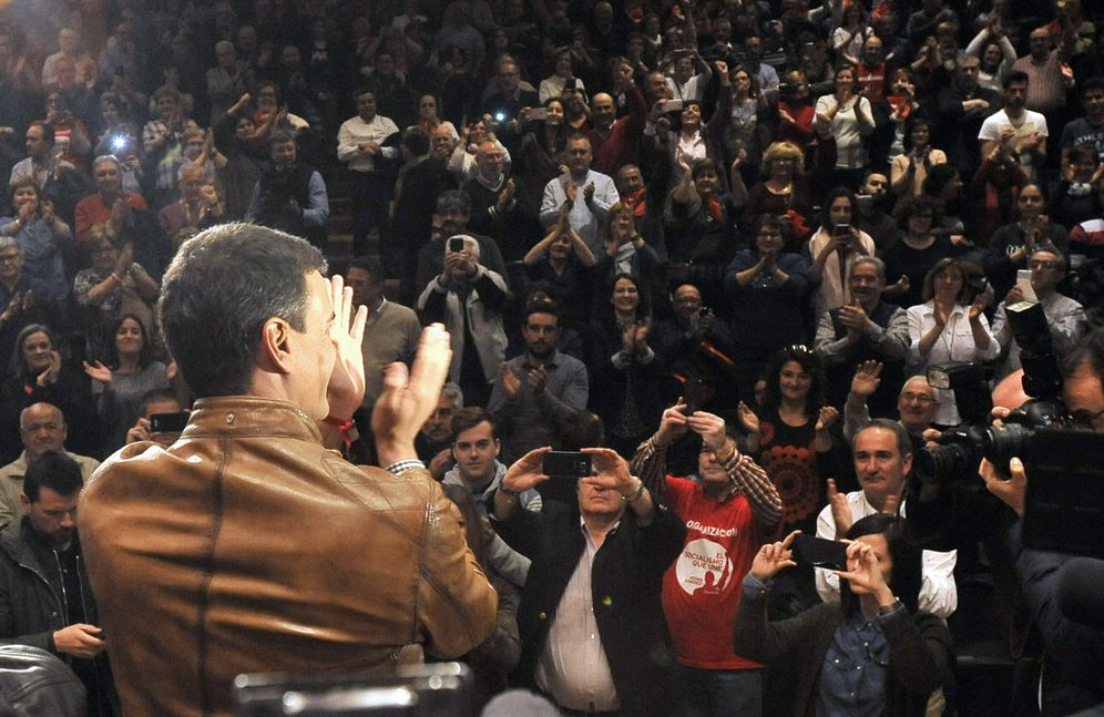 Foto: Pedro Sánchez, este 23 de marzo en un mitin con militantes y simpatizantes en Albacete. (EFE)