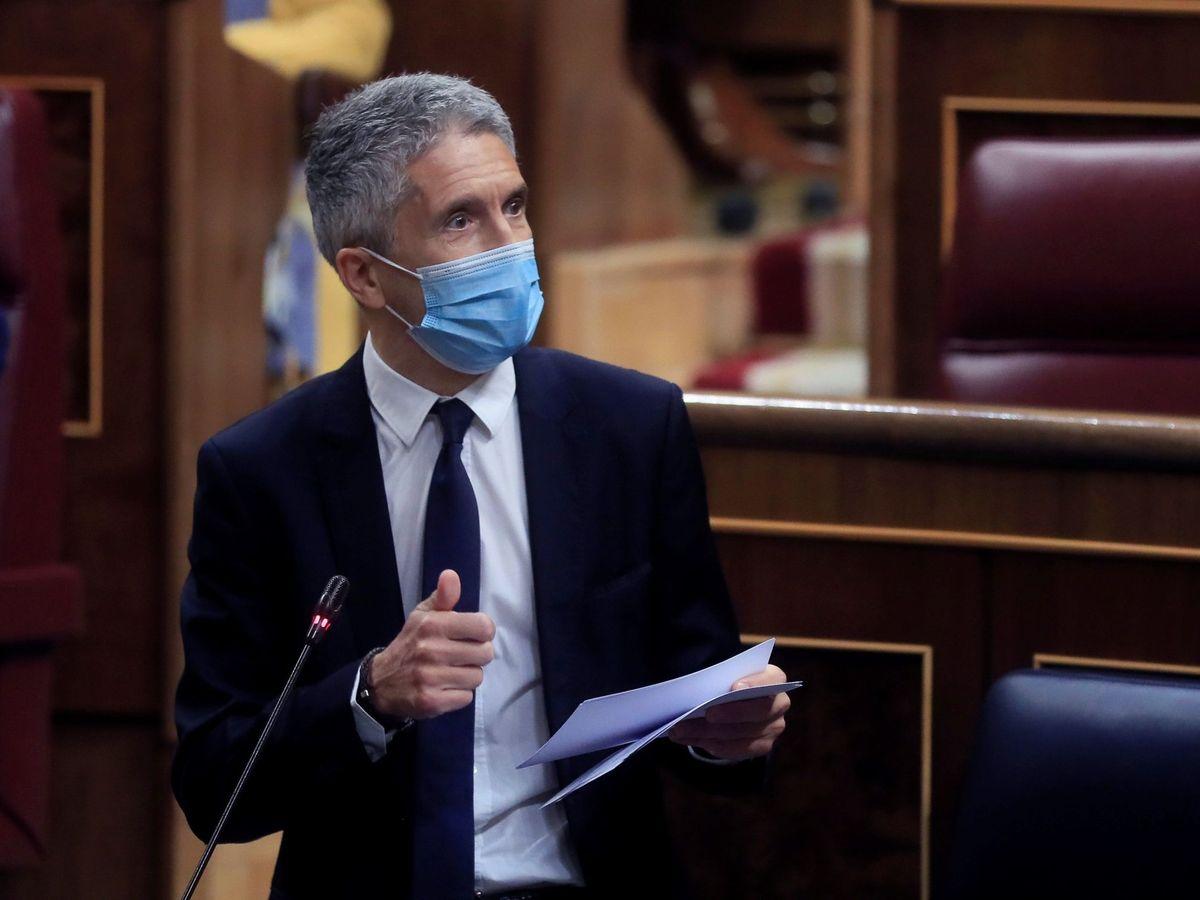 Foto: El ministro del Interior, Fernando Grande-Marlaska, en el Congreso. (EFE)