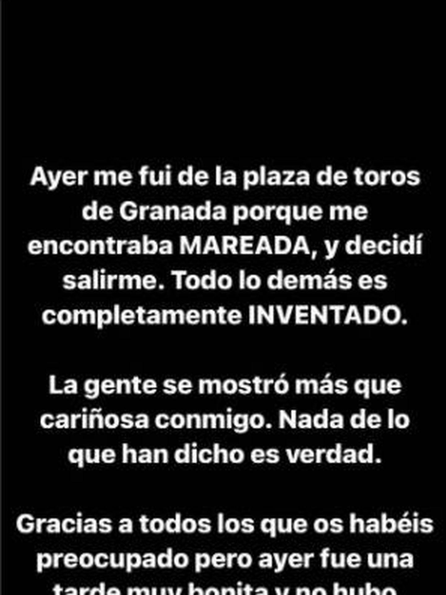 El mensaje de Ana Soria a través de su cuenta de Instagram. (IG)