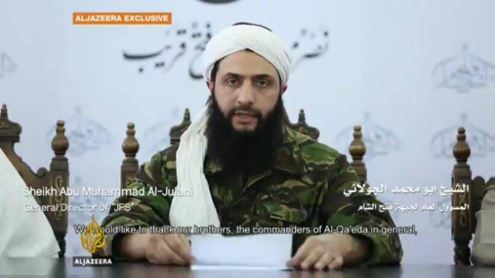 Foto: Captura de pantalla del video en el que Abu Mohamed Al Jolani anuncia la disolución del Frente Al Nusra