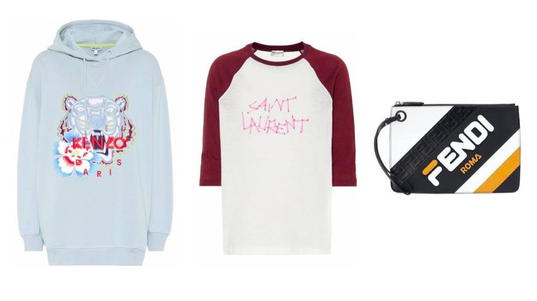 Sudadera de Kenzo (295 €), camiseta de Saint Laurent (390 €) y bolso de Fendi (720 €).