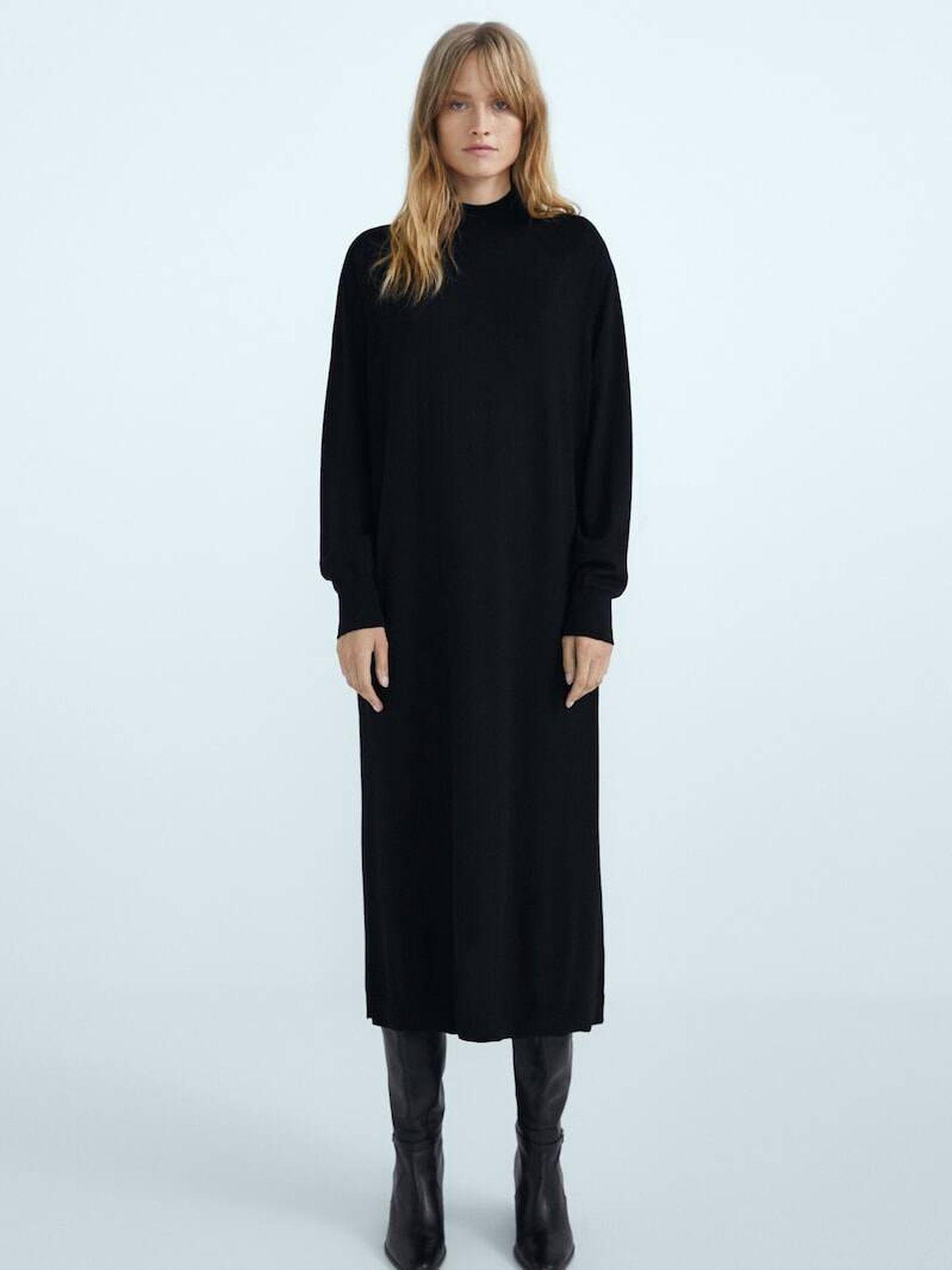 Vestido negro de Massimo Dutti. (Cortesía)