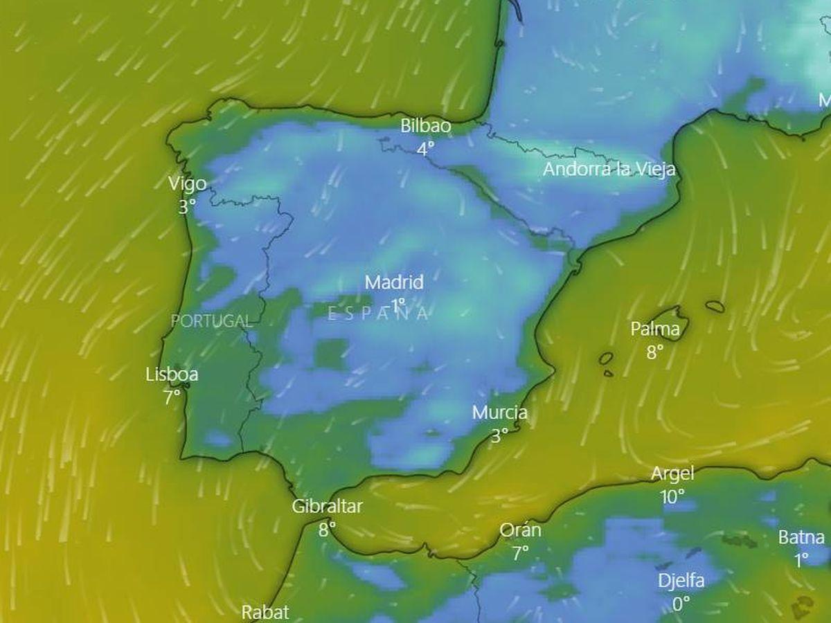 Foto: Evolución de las temperaturas en las últimas horas. (Windy)