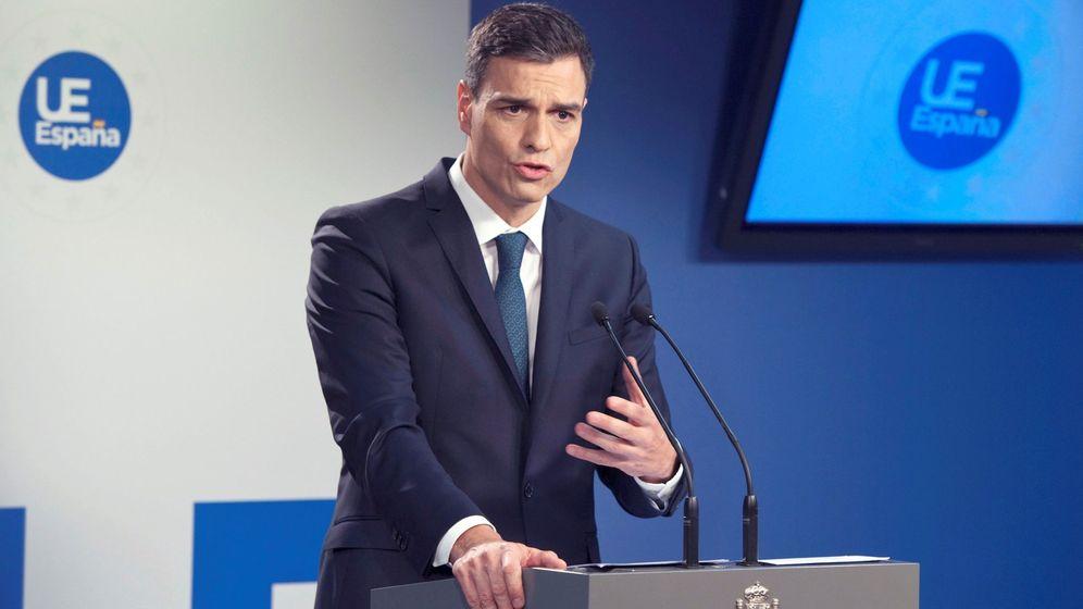 Foto: Rueda de prensa de Pedro Sánchez en Bruselas. (EFE)
